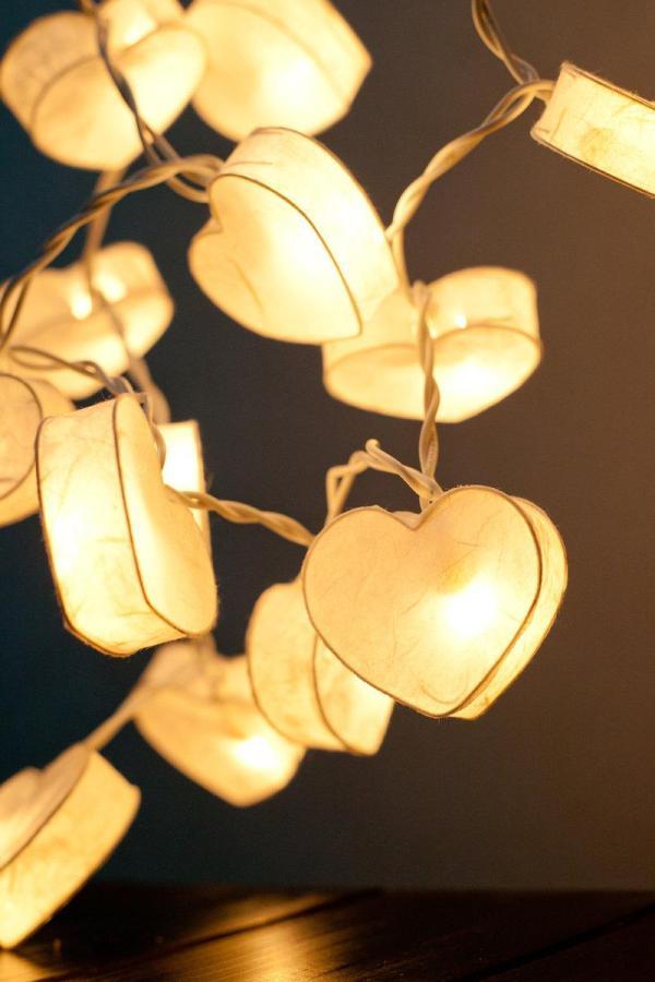 Battery Powered Led Romantic White Heart Paper Lantern