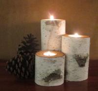 Home Decor, Birch Wood Candle Holders Wedding Decor ...
