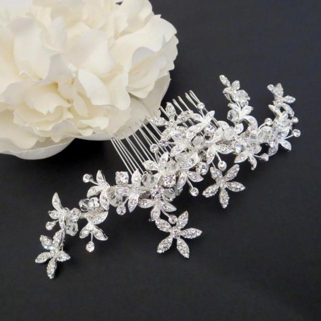 bridal hair vine, wedding headpiece, swarovski crystal hair