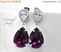 ON SALE Amethyst Bridal Earrings Plum Wedding Jewelry Dark ...