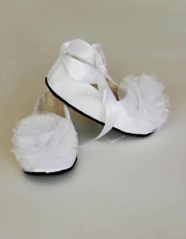 White Satin Baby Shoe - Toddler Couture Ballet Slipper