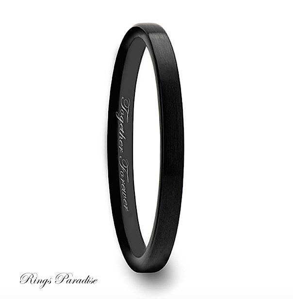 tungsten wedding band tungtsen ring wedding bands women black 2mm tungsten band tungsten carbide tungsten band promise ring wedding