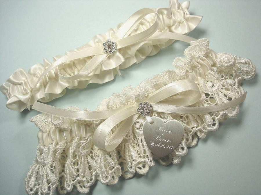 Garters, Personalized Ivory Wedding Garter Set In Venise