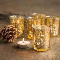 SET OF 12 Gold Mercury Glass Candle Votive Mercury Glass