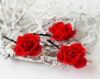 Red Rose Hair Accessories, Floral Hair Piece, Bridal Hair ...