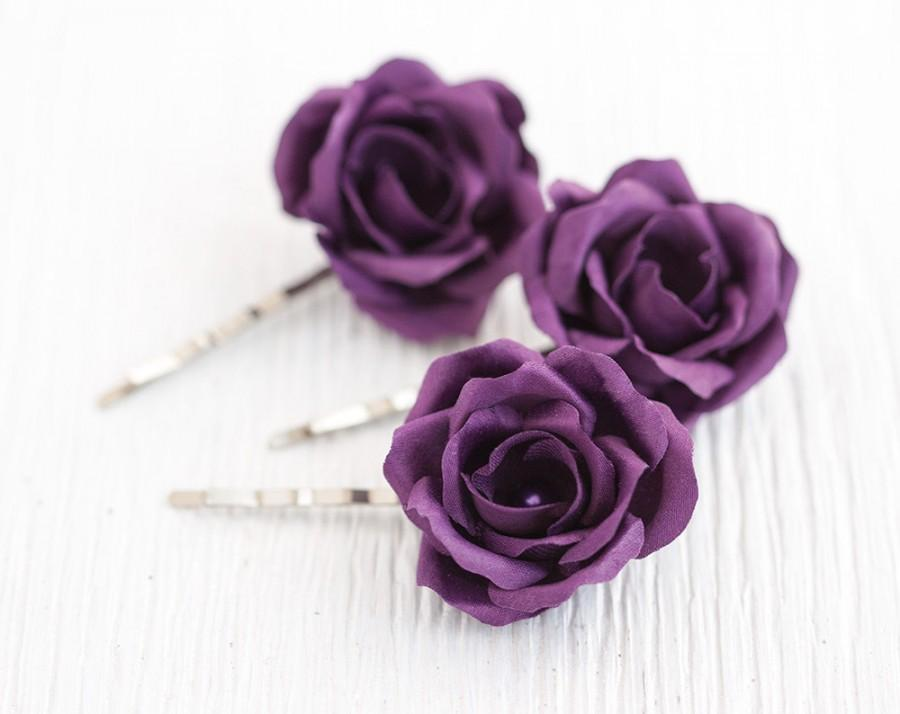 Hair Accessories, Purple Wedding, Hair Flower, Hair Rose