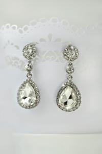 Crystal Wedding Earrings, Wedding Jewelry, Teardrop Bridal