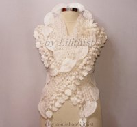 White Bridal Shawl Wrap, Crochet Shawl, Wedding Shawl