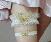 Wedding Garter Set, Gold Butterfly Bridal Garter Set ...