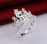Princess Crown Sterling Silver Tiara Ring Size 7 Promise ...