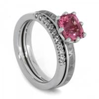 Bridal Set With Pink Gemstone, Meteorite Engagement Ring ...
