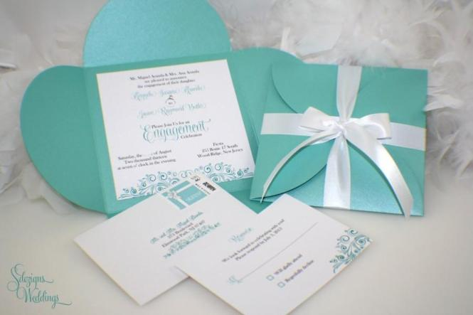 Bridal Shower Invitation Glitter Invitations Enement Announcement Wedding Aqua Teal Cut
