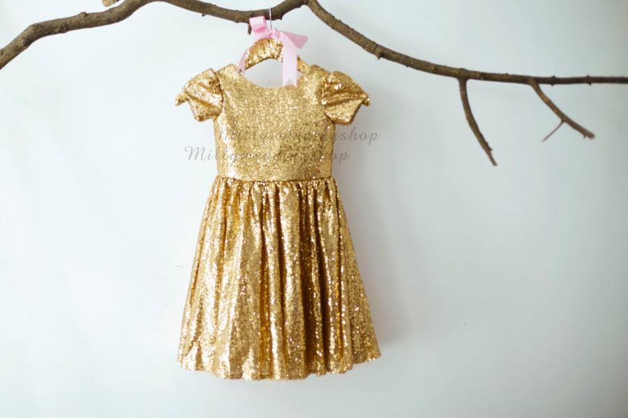 cfc9f27f30e Champagne Gold Sequin Cap Sleeves Wedding Flower Girl Dress ...