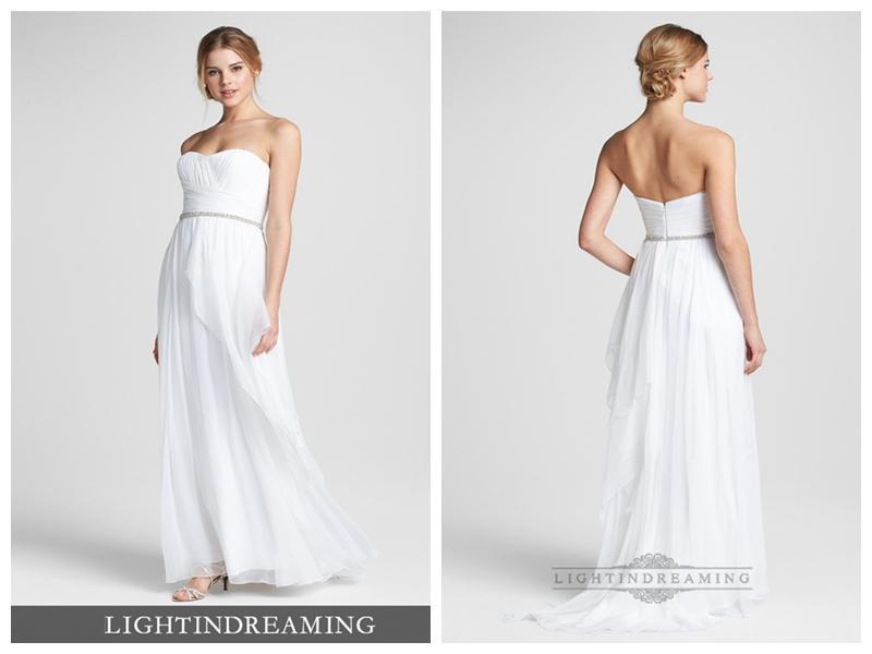 Simple Strapless Embellished Chiffon Column Wedding Dress