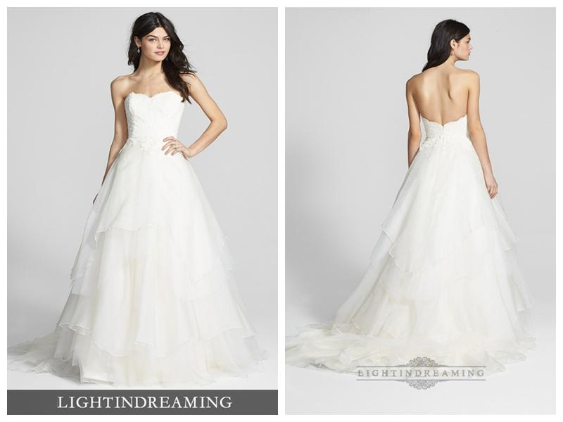 Strapless Sweetheart Lace Bodice Wedding Dresses With