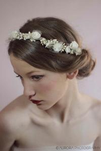 Wedding Hair Wreath,Ivory Flower Crown,Flower Wreath