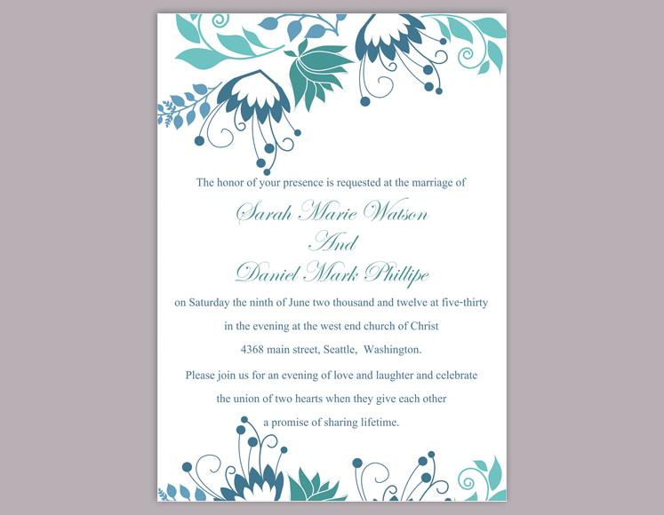 Using microsoft's word application, you can create customized card documents and save them as templates so that you can reuse the design again without having to do the initial setup work. Diy Wedding Invitation Template Editable Word File Instant Download Elegant Printable Invitation Blue Wedding Invitation Flower Invitation 2449873 Weddbook