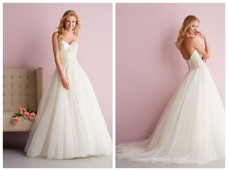 Strapless Sweetheart Ruched Bodice Embroidered Ball Gown