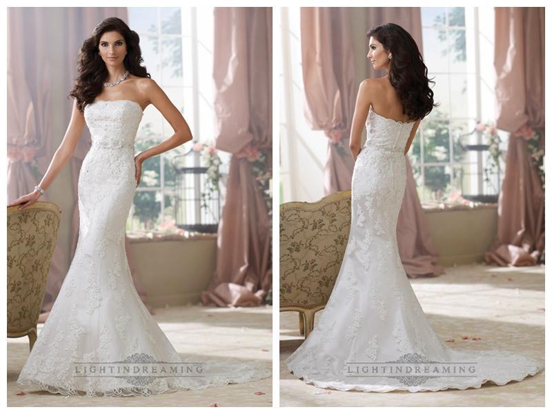 Strapless Lace Appliques Mermaid Wedding Dresses #2450040