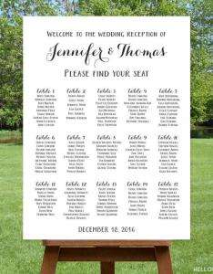 Printable large wedding seating chart black  white reception sign find your seat personalized table digital file also rh weddbook