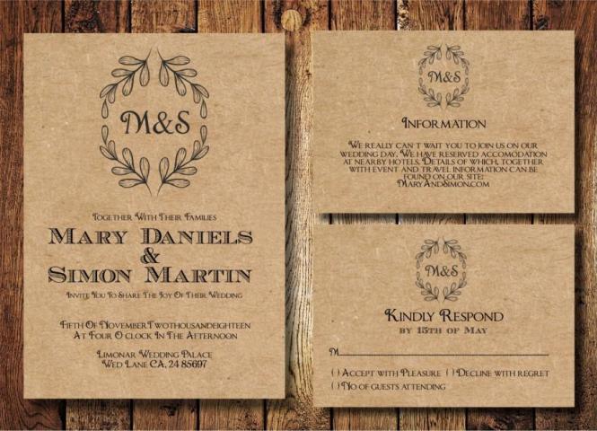 Rustic Wedding Invitation Template Set Kraft Paper Wreath