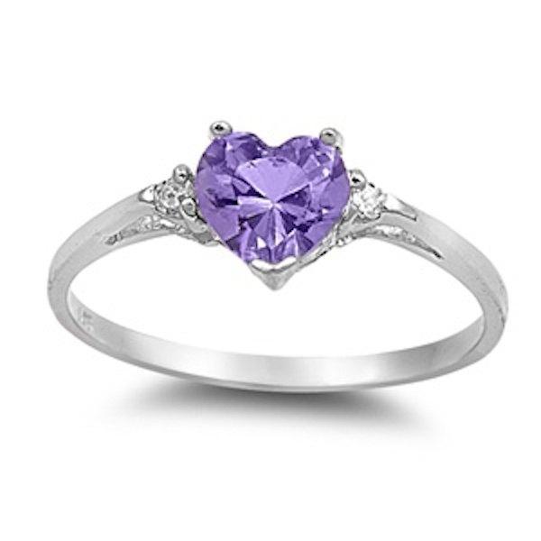 0.50CT Purple Amethyst Diamond Russian CZ Heart Shape
