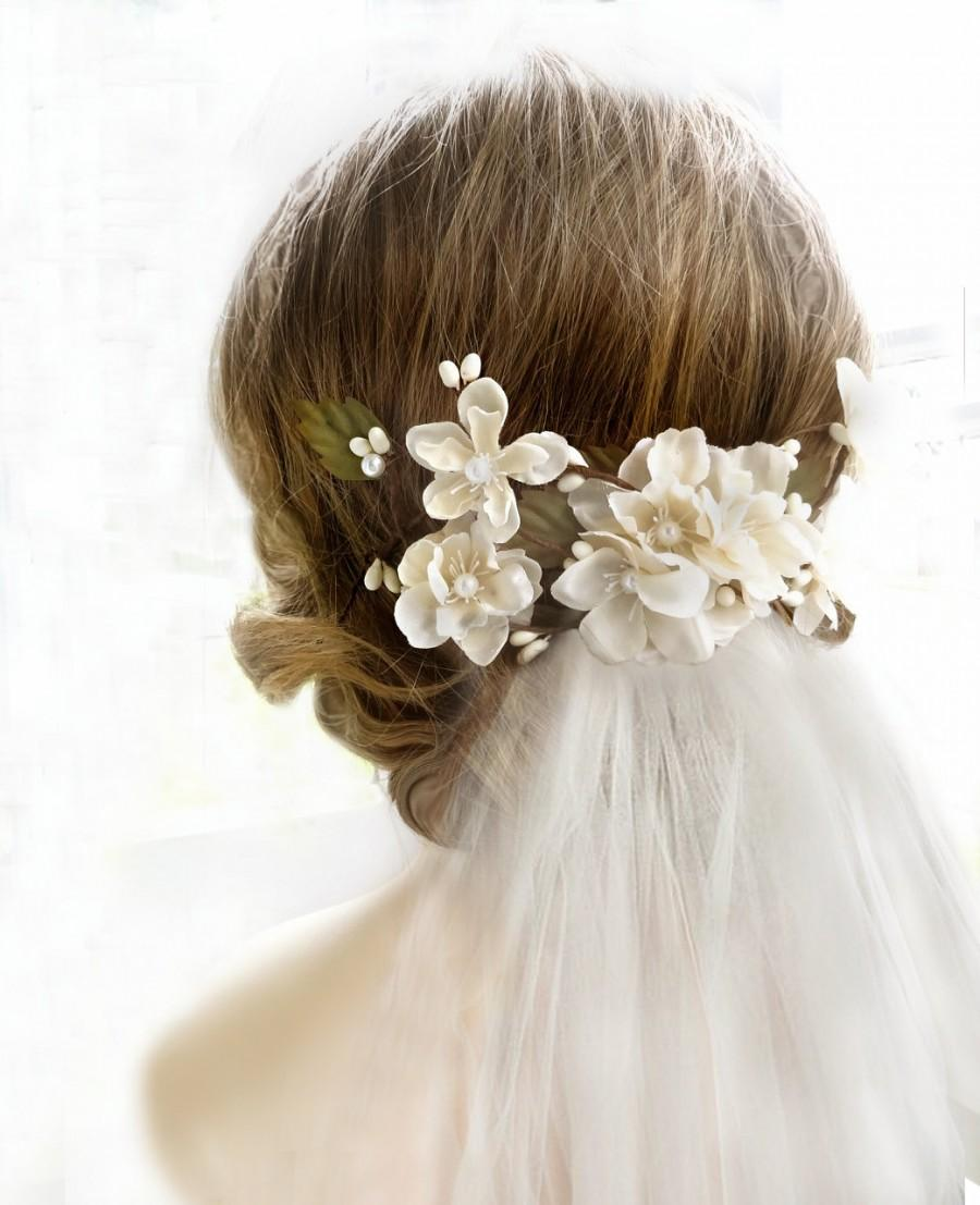bridal headpiece cream bridal flower hair clip hair accessories flower hairpiece with veil champagne floral hair comb bridal hair piece