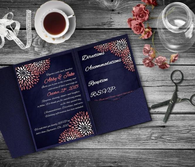 C Navy Wedding Invitation Template