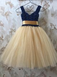 Navy And Gold Empire Flower Girl Tutu Dress, Crochet ...