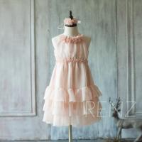 2015 Blush Pink Junior Bridesmaid Dress, Ruffle Flower ...