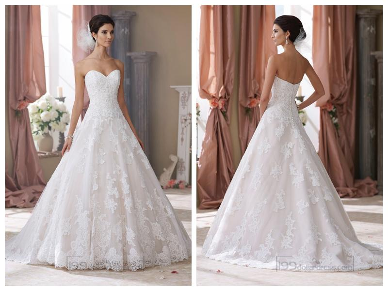 Strapless Sweetheart Lace Appliques Ball Gown Wedding