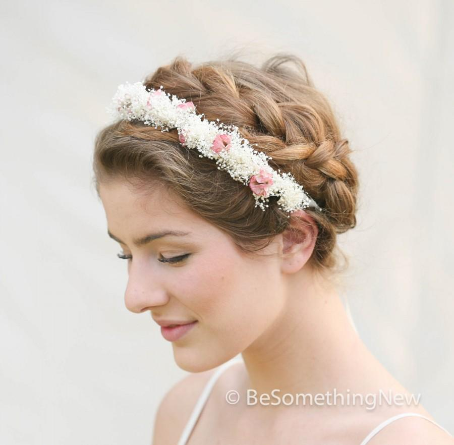 wedding wreath of babbies breath and dusty pink roses for weddings wedding hair accessories flower girl wreaths or boho music festivals