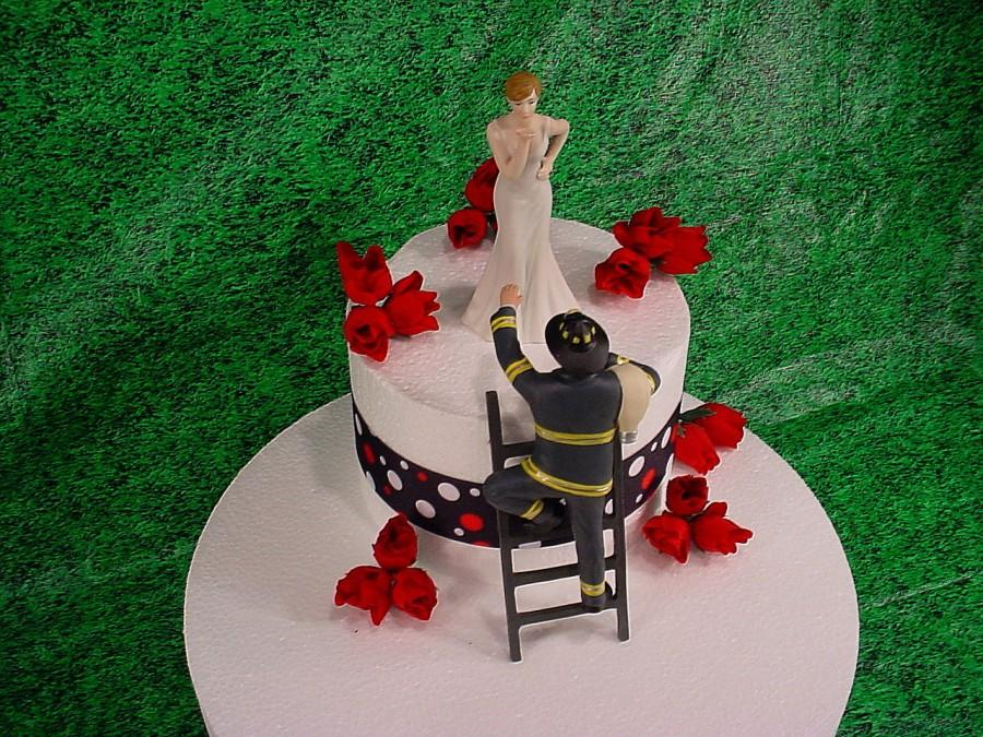 Bride Blowing Kisses And Fireman To The Rescue Groom Firefighter Wedding Cake Toppers Fire Hot