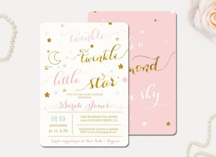 Le Little Star Baby Shower Invitation Glitter Gold Pink Printable Diy