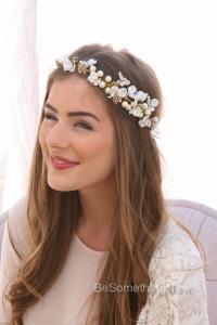Ivory Flower Crown Of Delicate Flowers And Gold Accents ...