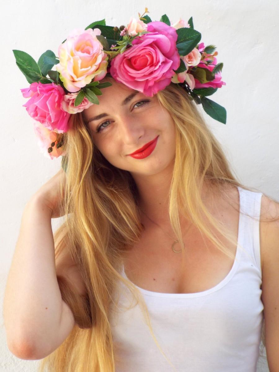 Pink Flower Crown, Wedding Hair Accessories, Big Floral