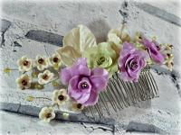 Garden Wedding Hair Piece, Bridal Hair Comb, Mint Purple ...
