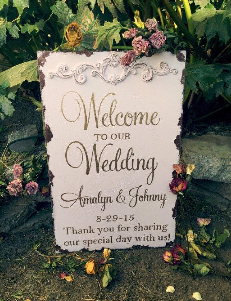 Rustic Welcome Wedding Sign Blush And Gold 2453485