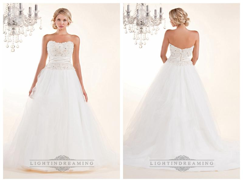 Strapless A-line Wedding Dresses With Rosette Swirled