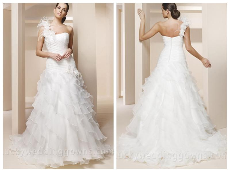 One Shoulder Trumpet Wedding Dress With Ruffled Layered