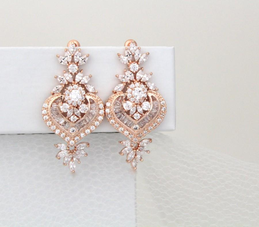 Rose Gold Bridal Earrings Crystal Wedding Earrings