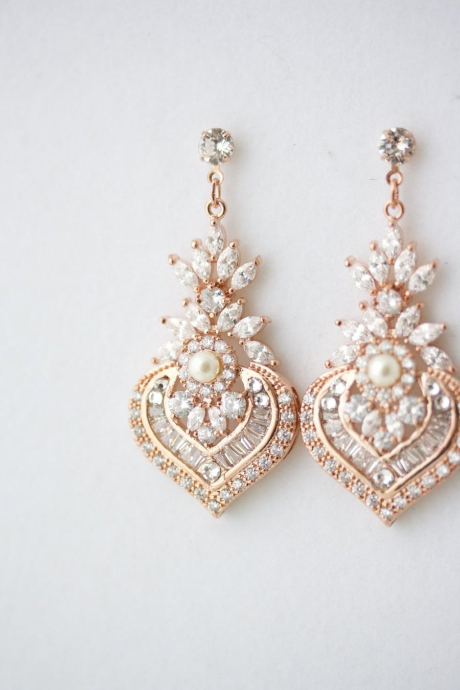 Rose Gold Earrings Bridal Earrings Rose Gold Crystal