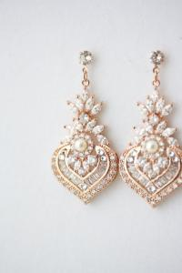 Rose Gold Earrings Bridal Earrings Rose Gold Crystal