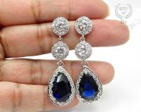 Sapphire Bridal Earrings Navy Blue Teardrop Bride Earrings ...