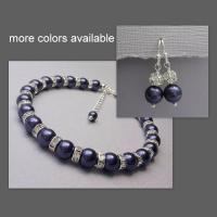Bridesmaid Gift, Swarovski Dark Purple Pearl Bracelet And ...