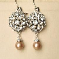 Champagne Pearl Bridal Wedding Earrings, Vintage Inspired