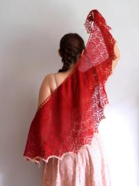 Red Shawl, Lace Knit Shawl, Valentine's Day Gift, Gift For ...