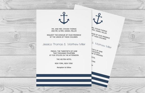 Nautical Wedding Invitation Template 5 X 7 Navy Anchor