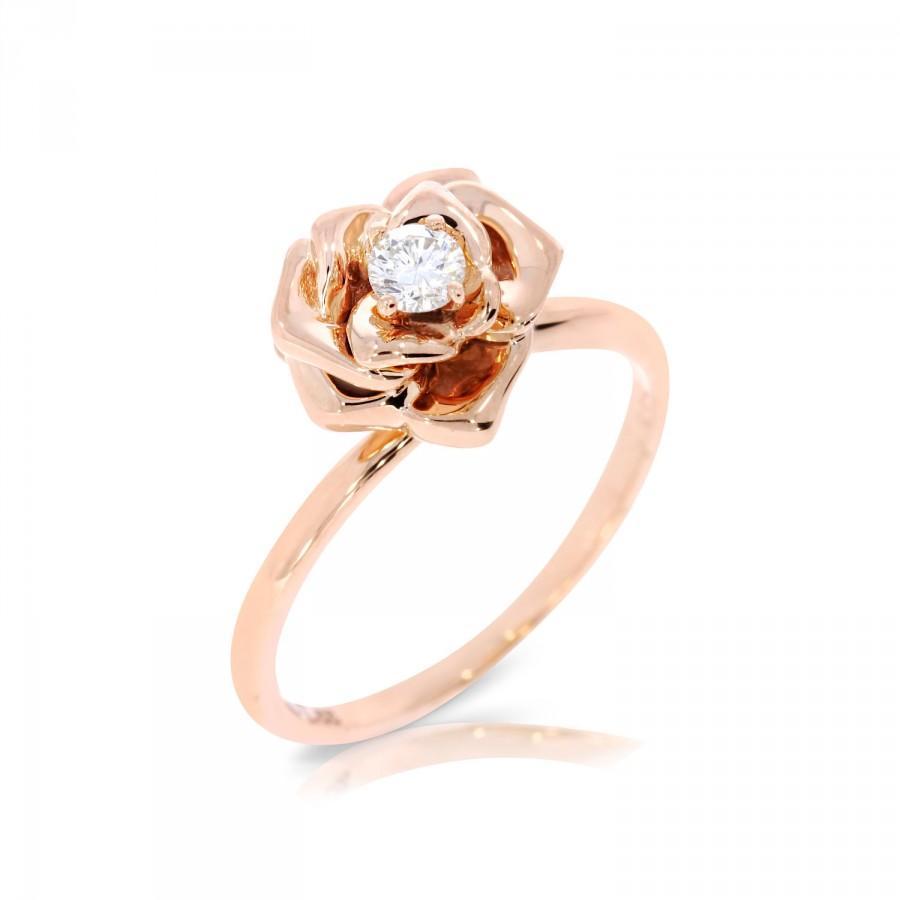 Flower Engagement Ring, Rose Ring, Flower Ring Rose Gold