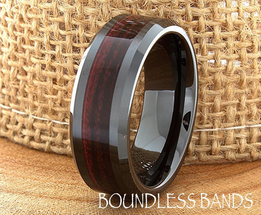 Ceramic Wedding Ring Wood Mens Wedding Band Black Ceramic
